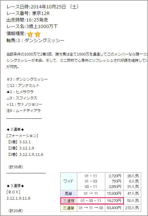 10/25 3連単GOLDの無料情報