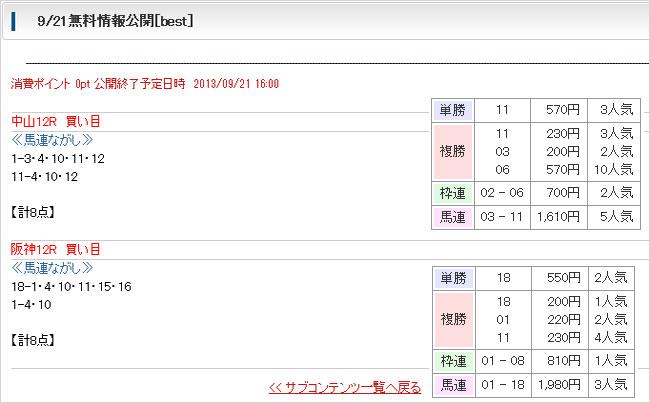 ベストレコード無料予想9/21