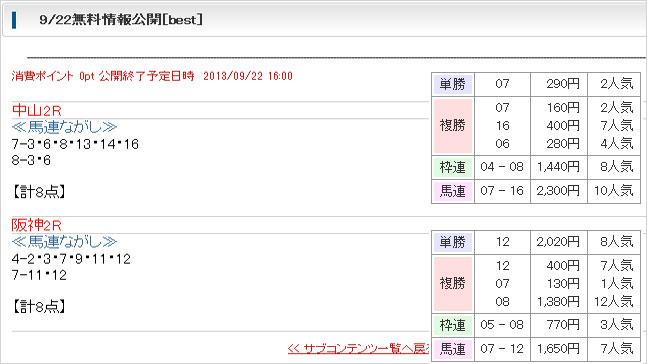 ベストレコード無料予想9/22