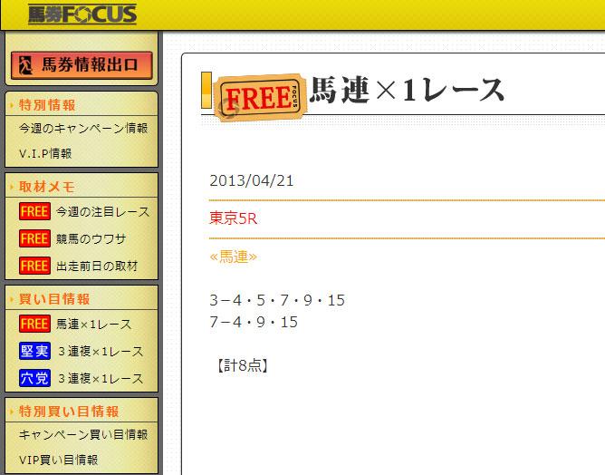 馬券フォーカス4/21無料情報