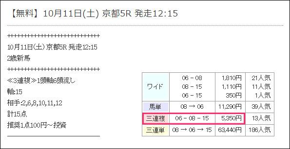 10/11勝馬伝説の無料情報