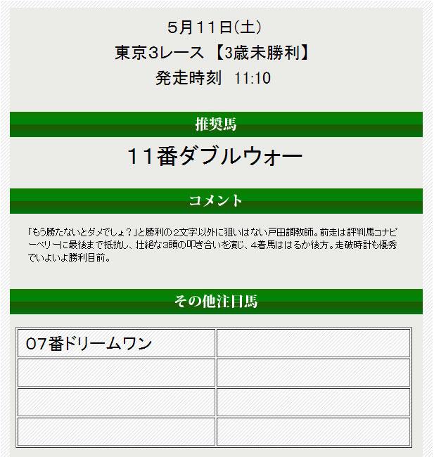 馬券トピックス5/11無料情報2